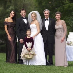 Smiling Family in Wedding Portrait